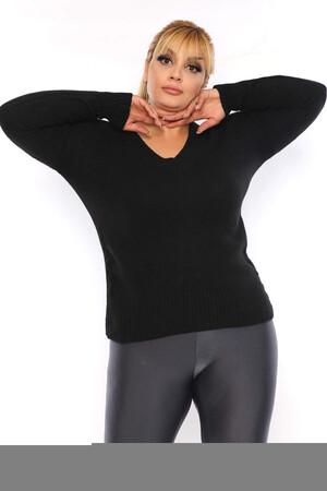 Angelino Fashion - Büyük Beden V Yaka Triko Kazak ST774 Siyah (1)