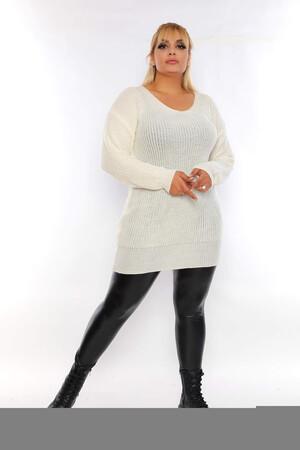 Angelino Fashion - Büyük Beden Sırt Omuz Bağcık Detay Uzun Triko Kazak ST689 Beyaz (1)
