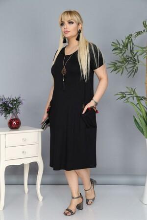 Angelino Fashion - Büyük Beden Viskon Dizboyu Elbise BTR8602 Siyah (1)