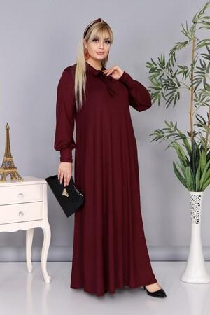 Angelino Fashion - Büyük Beden Viskon Yaka Fular Detay Tesettür Elbise BTR8330 Bordo (1)
