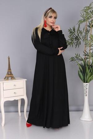 Angelino Fashion - Büyük Beden Viskon Yaka Fular Detay Tesettür Elbise BTR8330 Siyah (1)