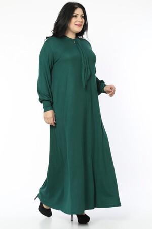 Angelino Fashion - Büyük Beden Viskon Yaka Fular Detay Tesettür Elbise BTR8330 Yeşil (1)