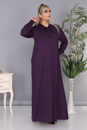 Angelino Fashion - Büyük Beden Viskon Yaka Fular Detay Tesettür Elbise BTR8330 Mor (1)