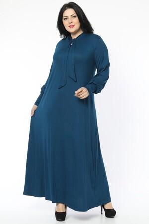 Angelino Fashion - Büyük Beden Viskon Yaka Fular Detay Tesettür Elbise BTR8330 Mavi (1)