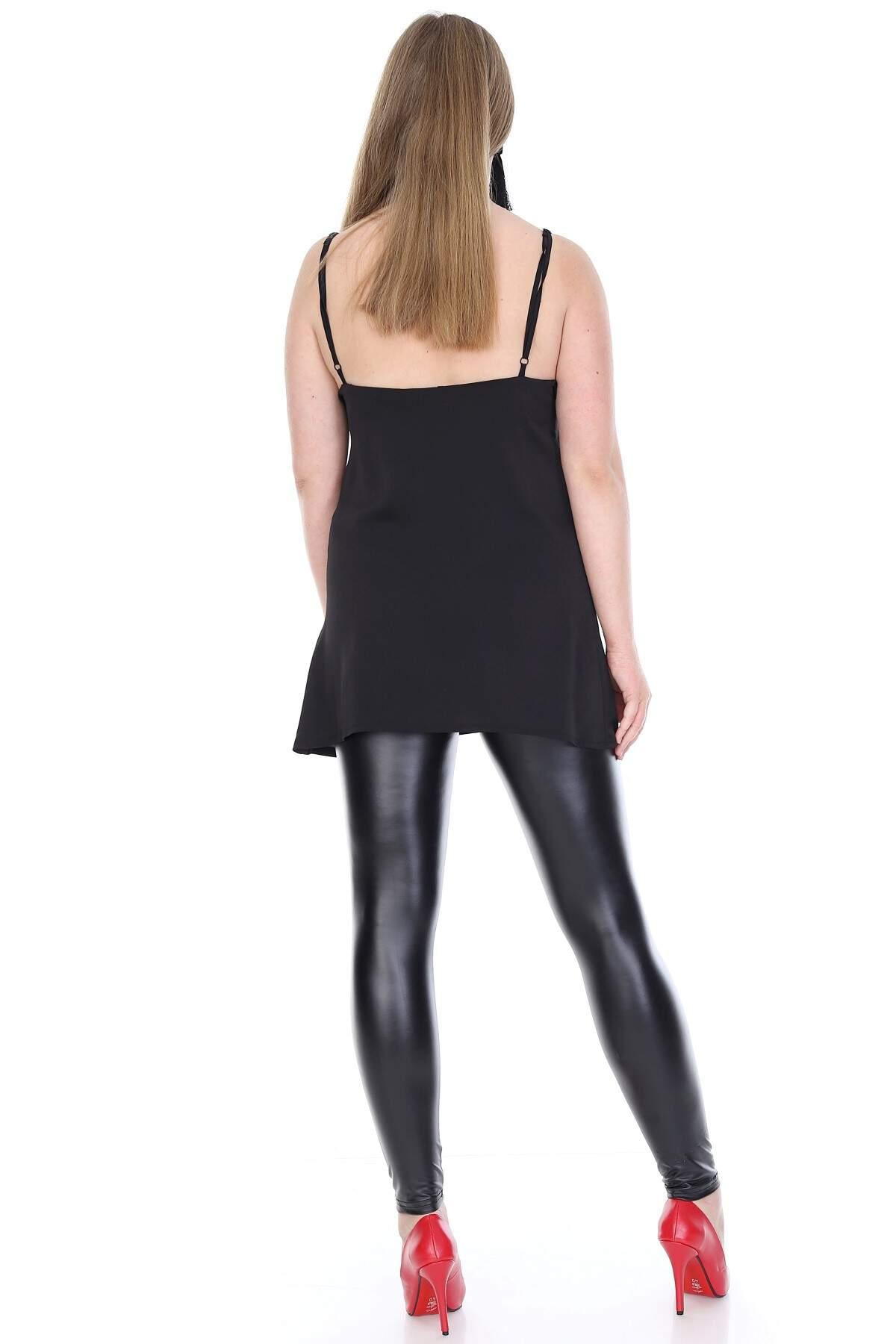 Büyük Beden Yaka Dantel Detay Askılı Saten Abiye Bluz KL811blz Siyah