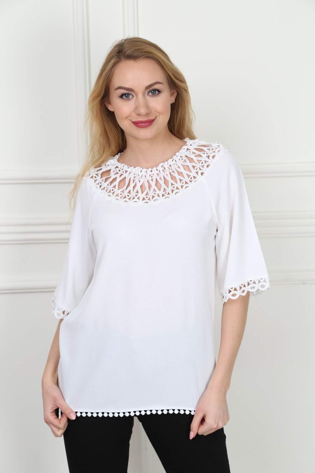 Büyük Beden Yakası Dantel Beyaz Bluz AF601