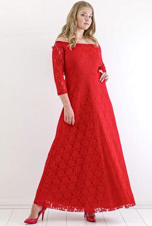 Angelino Butik - Büyük Beden Yakası Lastikli Komple Dantel Detay Abiye Mezuniyet Elbisesi KL8400u Kırmızı (1)