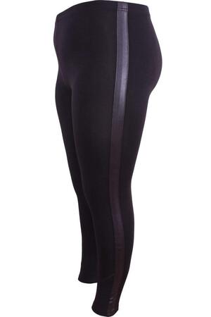 Angelino Fashion - Büyük Beden Yanı Deri Şerit Detay Tayt 22877 Siyah (1)