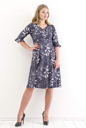 Angelino Butik - Büyük Beden Yaprak Desen Sandy Kısa Elbise KL840 Füme (1)