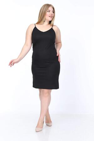Angelino Butik - Büyük Beden Askılı V Yaka İç Elbise KL4569 Siyah (1)