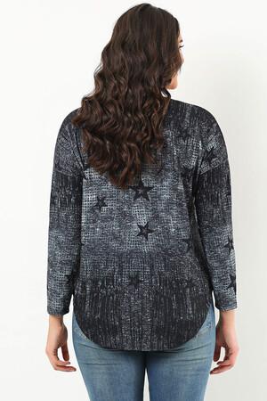 Mangolino Dress - Büyük Beden Yıldızlı Gri Tunik 1610810 (1)