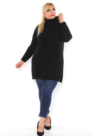 Angelino Fashion - Büyük Beden Yırtmaç Detay Akrilik Boğazlı Bol Triko Kazak RH4630 Siyah (1)