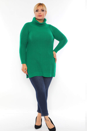 Angelino Fashion - Büyük Beden Yırtmaç Detay Akrilik Boğazlı Bol Triko Kazak RH4630 Yeşil (1)