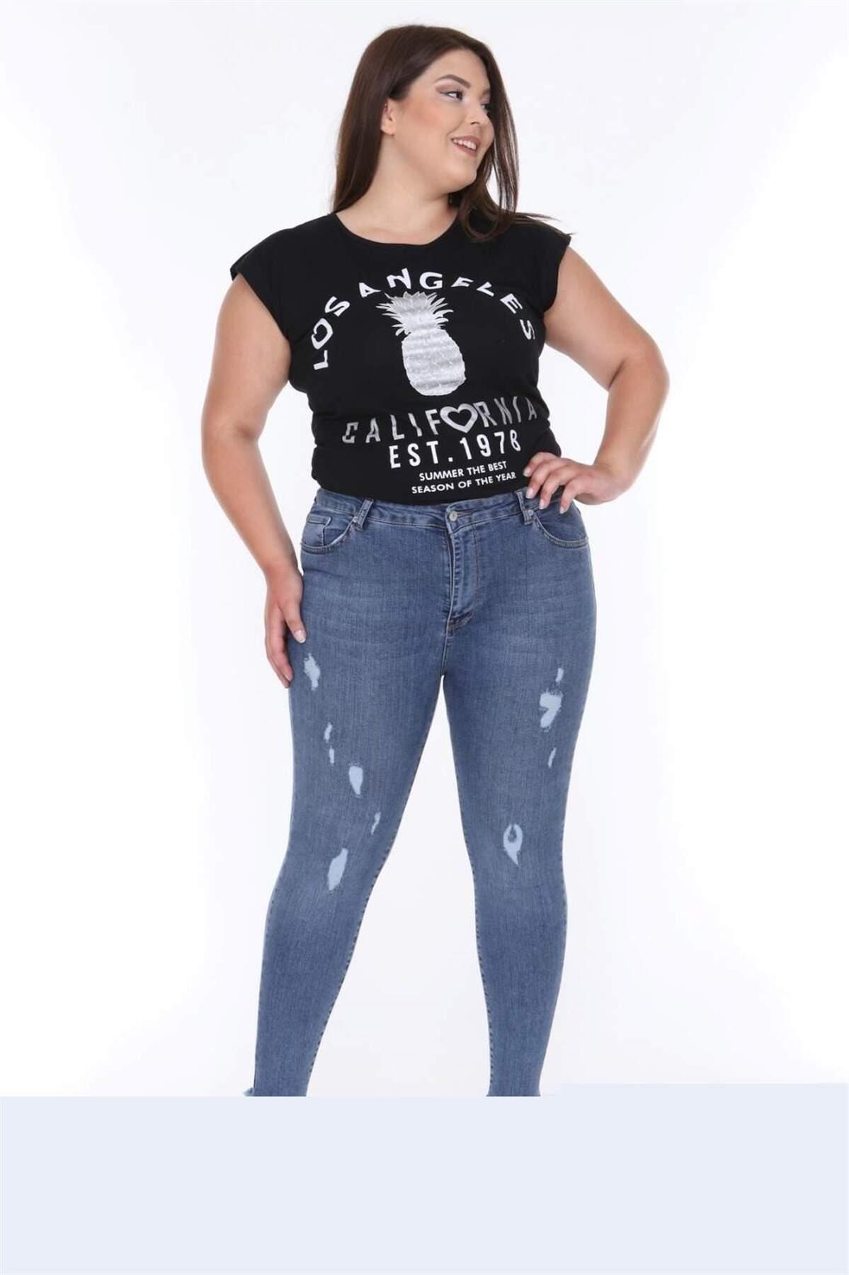 Büyük Beden Yırtmaçlı Kot Pantolon MF23037 Mavi