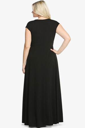 Mangolino Dress - Büyük Beden Yırtmaçlı Şık Uzun Elbise MD8888 (1)