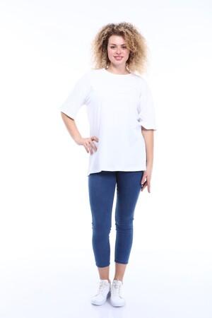 Angelino Butik - Büyük Beden Yuvarlak Yaka Beyaz T-shirt TC02 (1)
