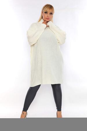 Angelino Fashion - Büyük Beden Yuvarlak Yaka Boğazlı Uzun Triko Kazak ST695 Beyaz (1)