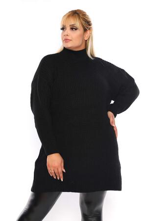 Angelino Fashion - Büyük Beden Yuvarlak Yaka Boğazlı Uzun Triko Kazak ST695 Siyah (1)