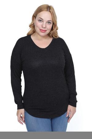 Angelino Fashion - Büyük Beden Yuvarlak Yaka Esnek Bluz AT5515d Siyah (1)