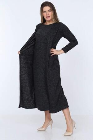 Angelino Fashion - Büyük Beden Yuvarlak Yaka Kırçıllı Kumaş Triko Hırka YM77 Füme (1)