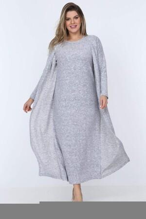 Angelino Fashion - Büyük Beden Yuvarlak Yaka Kırçıllı Kumaş Triko Hırka YM77 Gri (1)