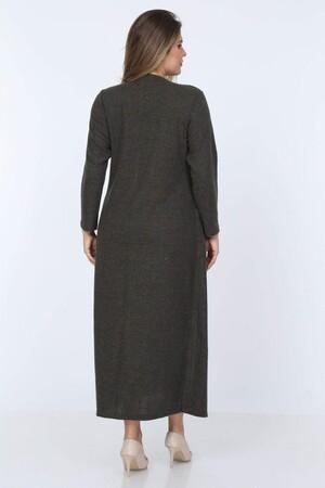 Angelino Fashion - Büyük Beden Yuvarlak Yaka Kırçıllı Kumaş Triko Hırka YM77 Haki (1)
