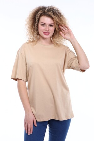 Angelino Butik - Büyük Beden Yuvarlak Yaka Krem T-shirt TC02 (1)