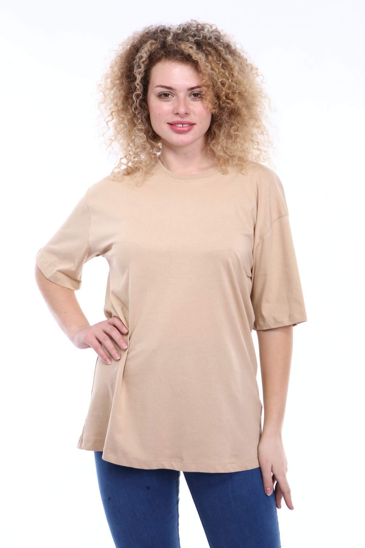 Büyük Beden Yuvarlak Yaka Krem T-shirt TC02