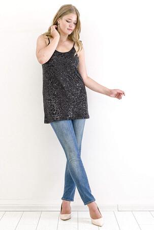 Angelino Butik - Büyük Beden Zara Payet Abiye Bluz KL5007 Siyah (1)