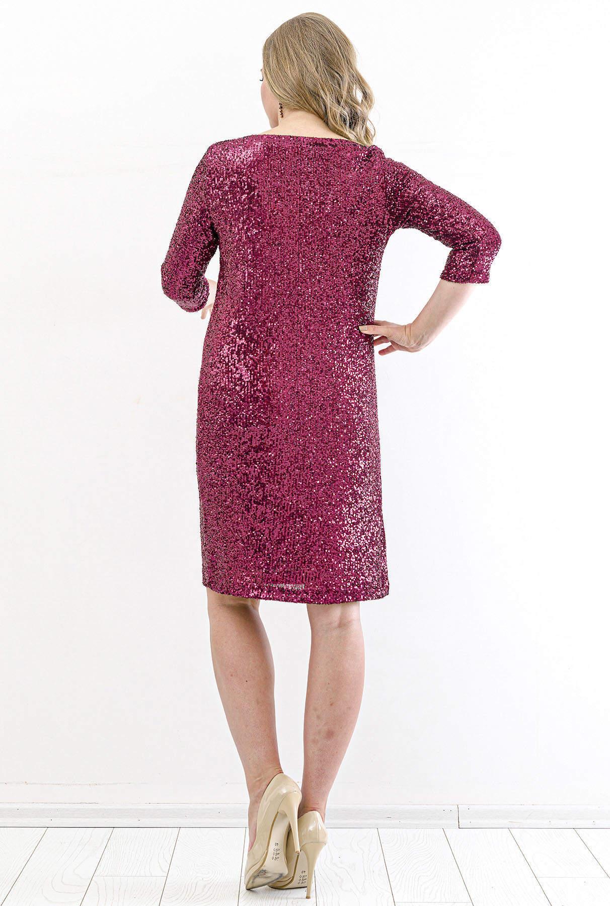Büyük Beden Payetli Mini Abiye Elbise KL5601 Bordo
