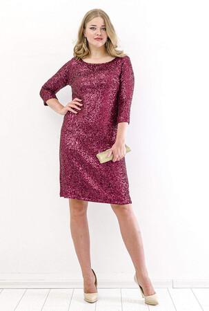 Angelino Butik - Büyük Beden Zara Payetli Mini Abiye Elbise KL5601 Bordo (1)