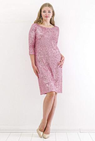 Angelino Butik - Büyük Beden Zara Payetli Mini Abiye Elbise KL5601 Pembe (1)
