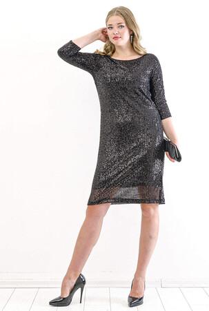 Angelino Butik - Büyük Beden Zara Payetli Mini Abiye Elbise KL5601 Siyah (1)