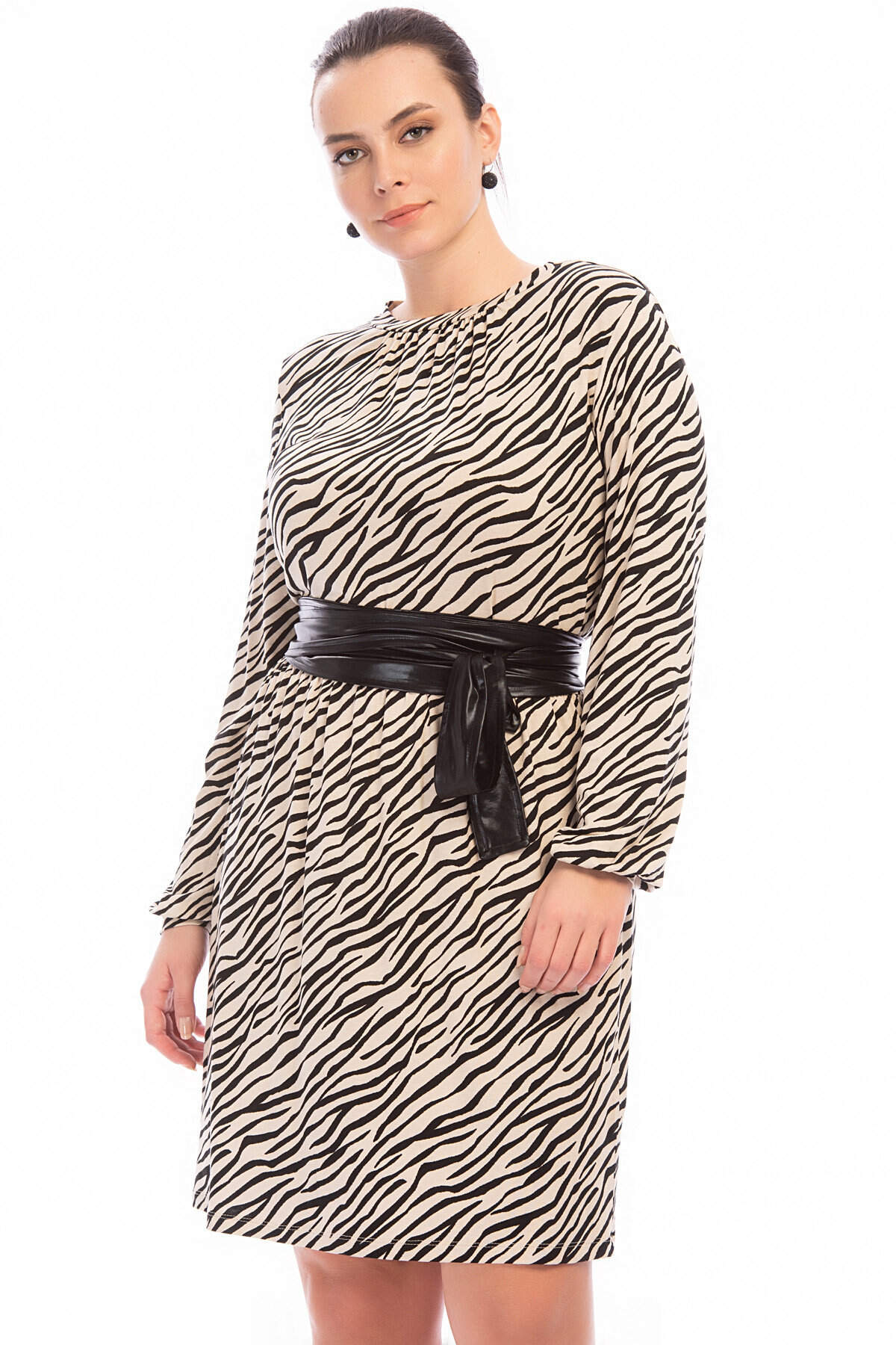Büyük Beden Zebra Elbise FR888