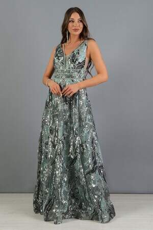 Mint Payetli Sırt Dekolteli Prenses Abiye Elbise
