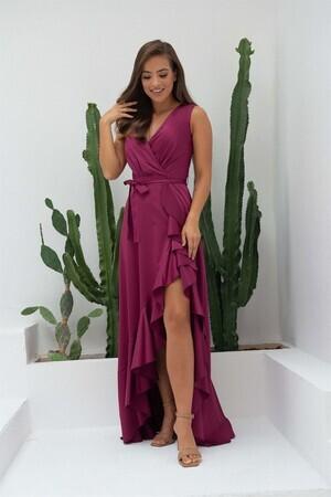 Angelino CA BUTİK - Vişne Saten Yırtmaçlı Uzun Abiye Elbise (1)