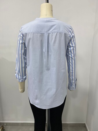 - Cep Detay Çizgili Gömlek (1)