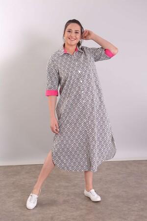- Çini Desen Düğmeli Siyah Plaj Elbise (1)