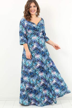 Angelino Style - DD2406 Mavi Desenli Büyük Beden Uzun Abiye Elbise (1)