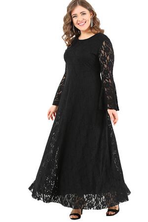 Angelino Butik - DD791 Büyük Beden Kolları Volanlı Komple Dantel Elbise Siyah (1)