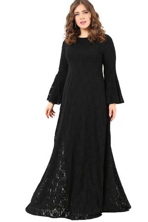 Angelino Butik - DD791T Büyük Beden Kolları Volanlı Komple Dantel Tesettür Elbise Siyah (1)