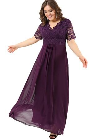 Angelino Butik - Üstü Güpür Şifon Büyük Beden Abiye Elbise DD793 (1)