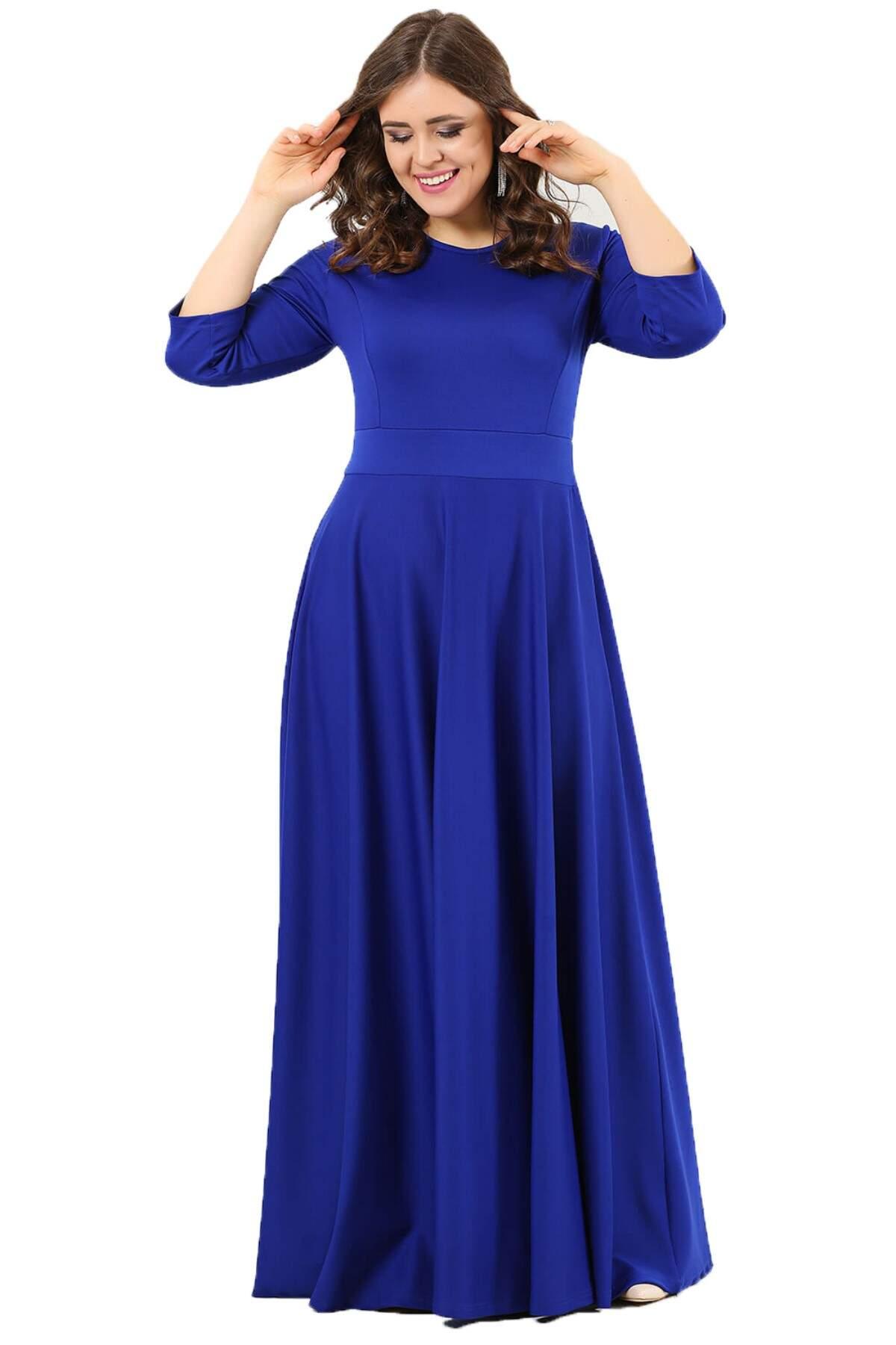Bol Dökümlü Belden Oturtmalı Likralı Büyük Beden Kibar Elbise DD795