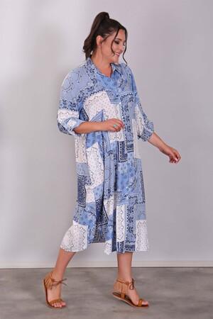 - Desenli Gömlek Formlu Mavi Plaj Elbisesi (1)