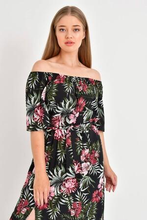 - Düşük Omuz Detaylı Yırtmaçlı Elbise (1)