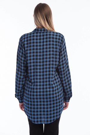 Angelino Fashion - Büyük Beden Kareli Gömlek FR01435 Mavi (1)
