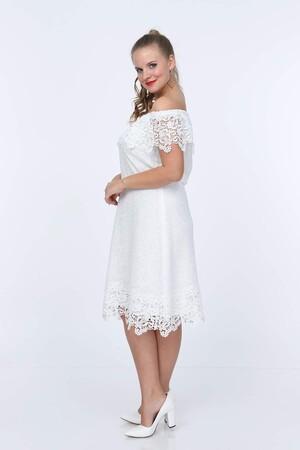 Angelino Butik - Genç Büyük Beden Beyaz Güpür Elbise nv4025 (1)