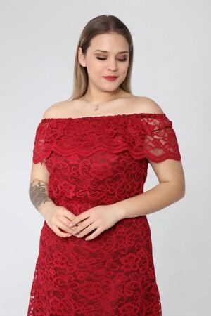 Angelino Butik - Genç Büyük Beden Bordo Güpür Elbise nv4025 (1)