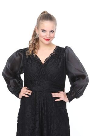 Angelino Butik - Genç Büyük Beden Güpür Siyah Elbise nv4028 (1)