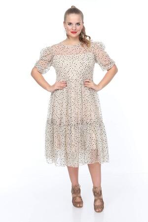 Angelino Butik - Genç Büyük Beden Krem Elbise nv4024-1 (1)